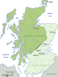 Χάρτης με νοητή σκιαγράφηση των Highlands